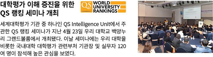 대학평가 이해 증진을 위한 QS 랭킹 세미나 개최. 세계대학평가 기관 중 하나인 QS Intelligence Unit에서 주관한 QS 랭킹 세미나가 지난 4월 23일 우리 대학교 백양누리 그랜드볼룸에서 개최됐다. 이날 세미나에는 우리 대학을 비롯한 국내대학 대학평가 관련부처 기관장 및 실무자 120여 명이 참석해 높은 관심을 보였다.